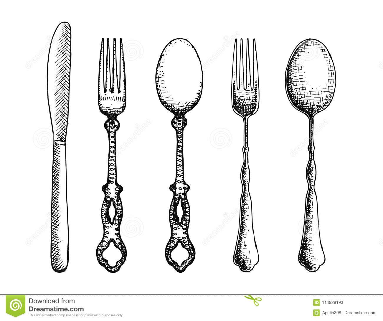 Cutlery Set Of Spoon Forks And Knife Vector Vector