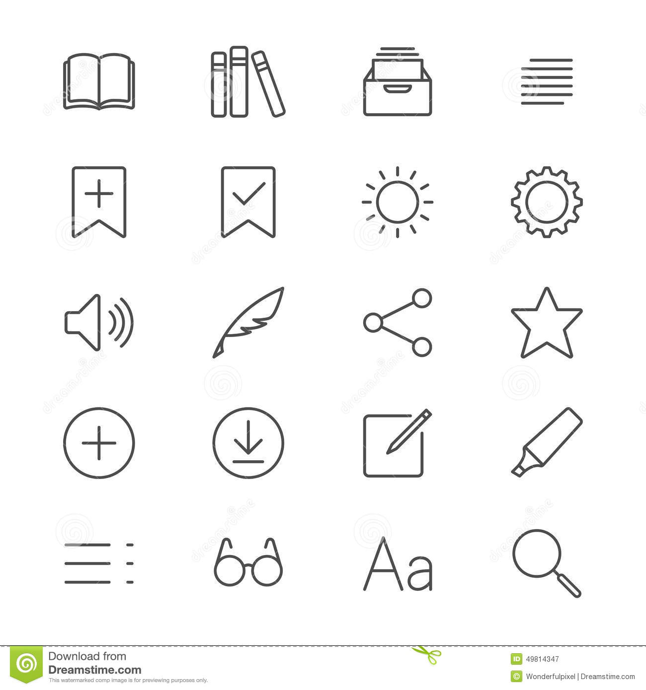 E-book reader thin icons stock vector. Illustration of