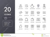 Commerce Line Icons Stock Vector. Illustration Of