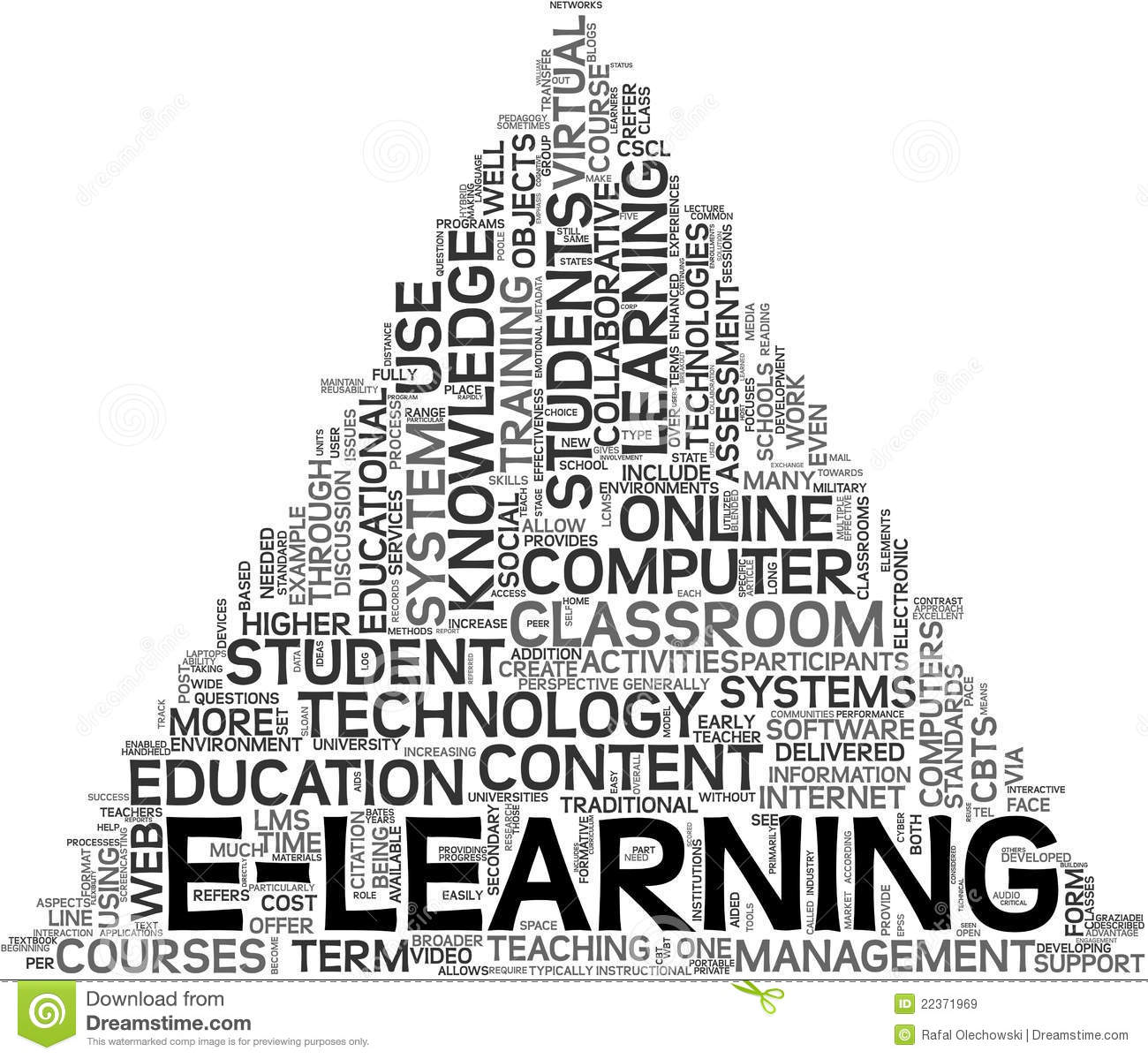 E Learning Concept In Tag Cloud Stock Illustration