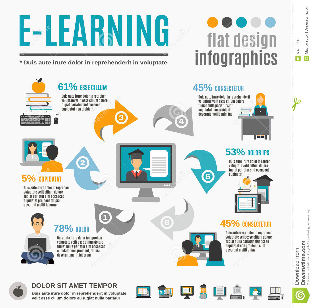 Elearning Infographics Set Stock Vector  Illustration of