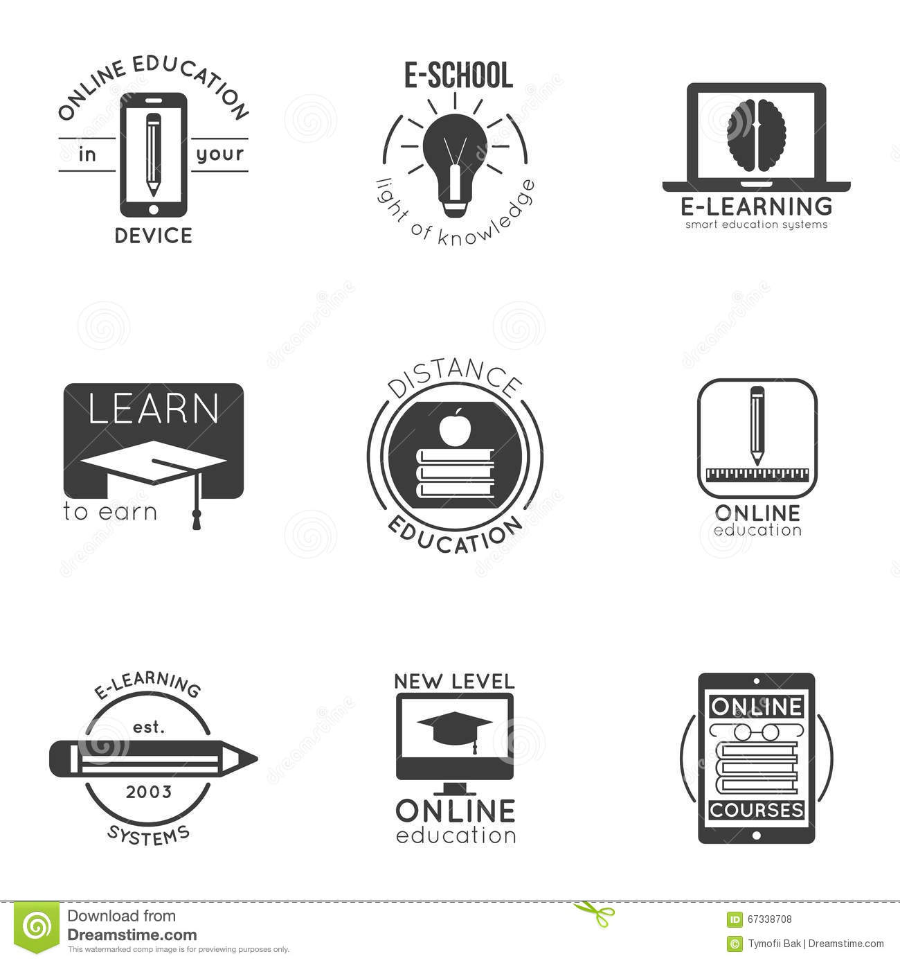 E-learning And Online Education Logo Set. Vector Badges