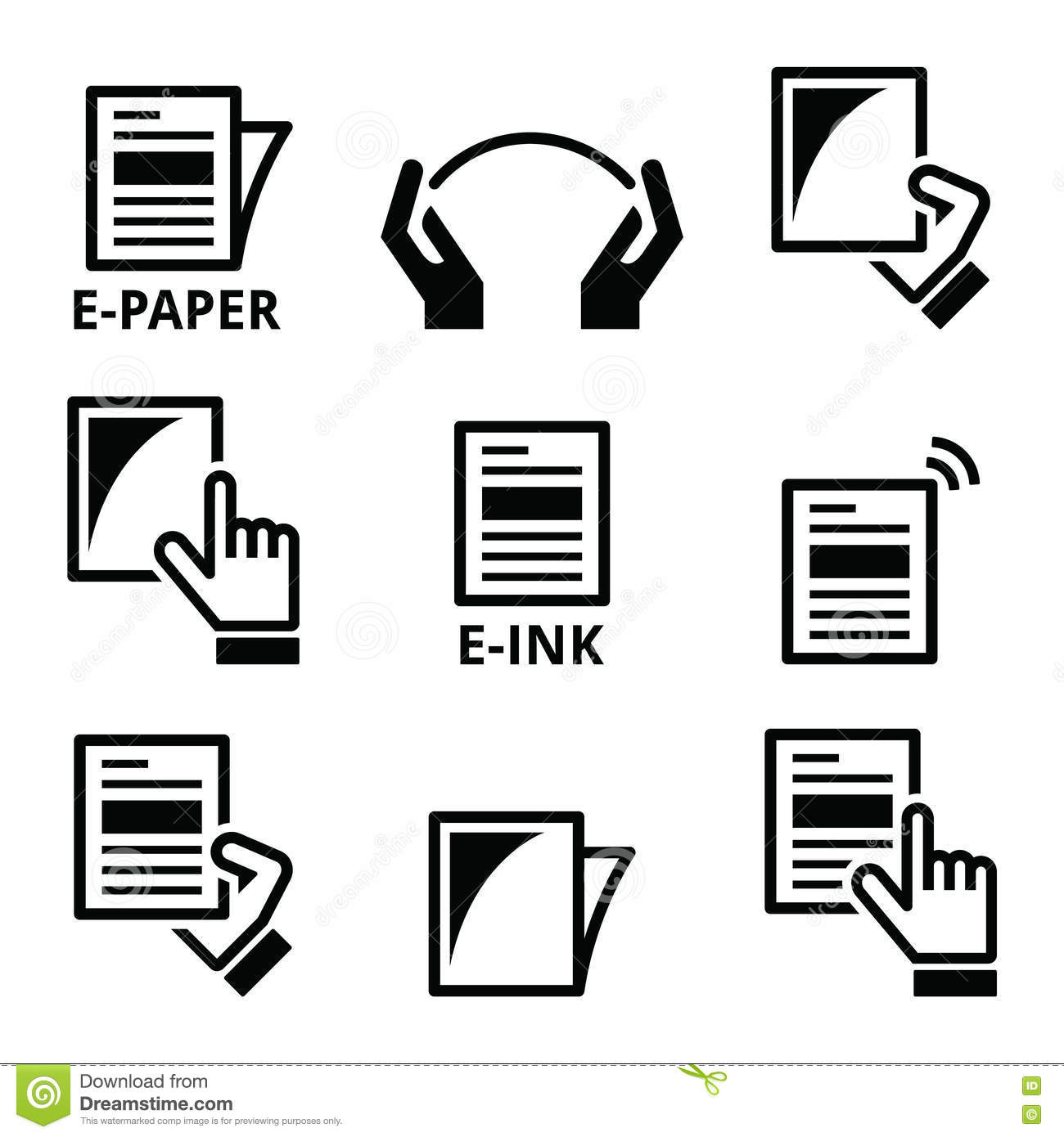 E Paper E Ink Technology Display Device Icons Set Stock