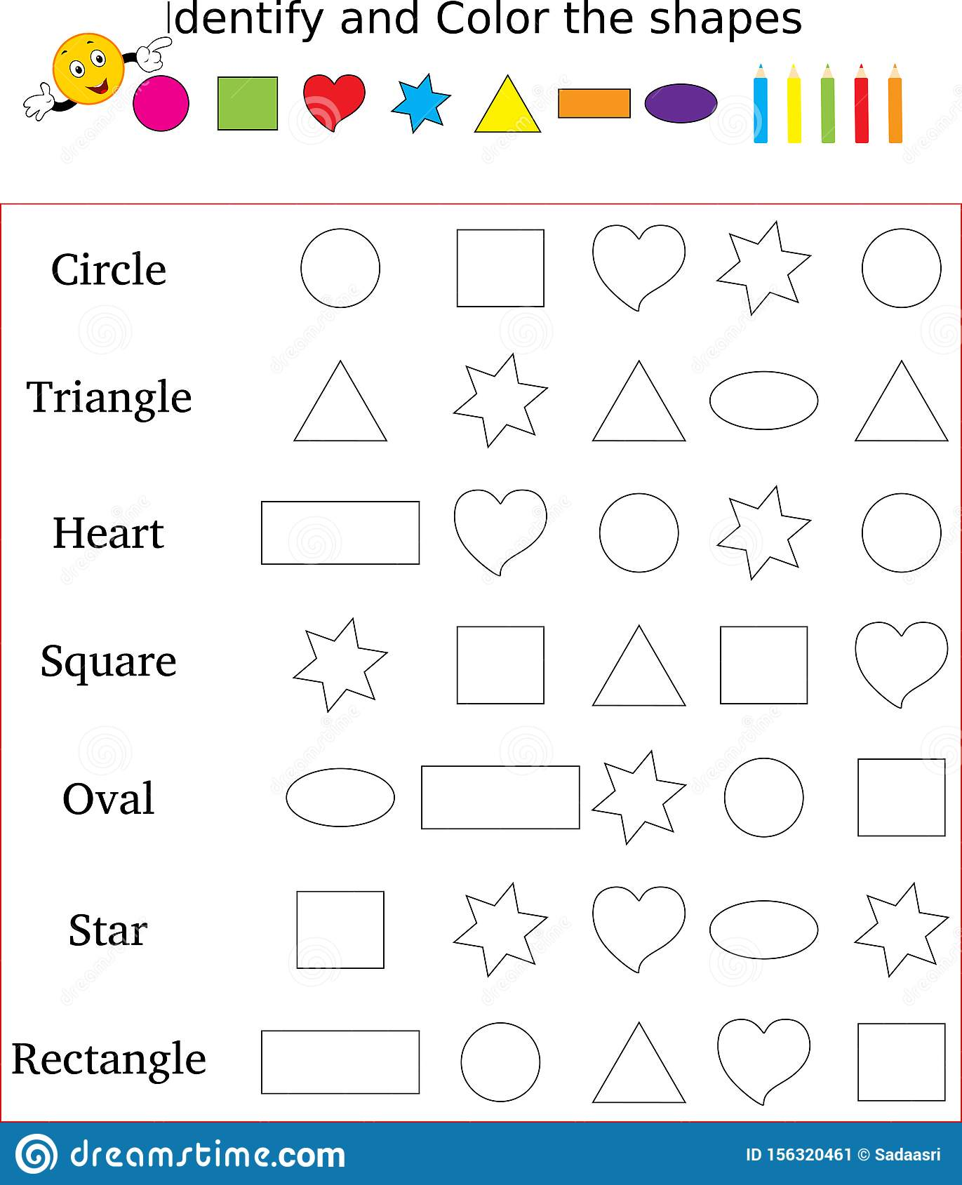 Identify And Color The Correct Shape Worksheet Stock