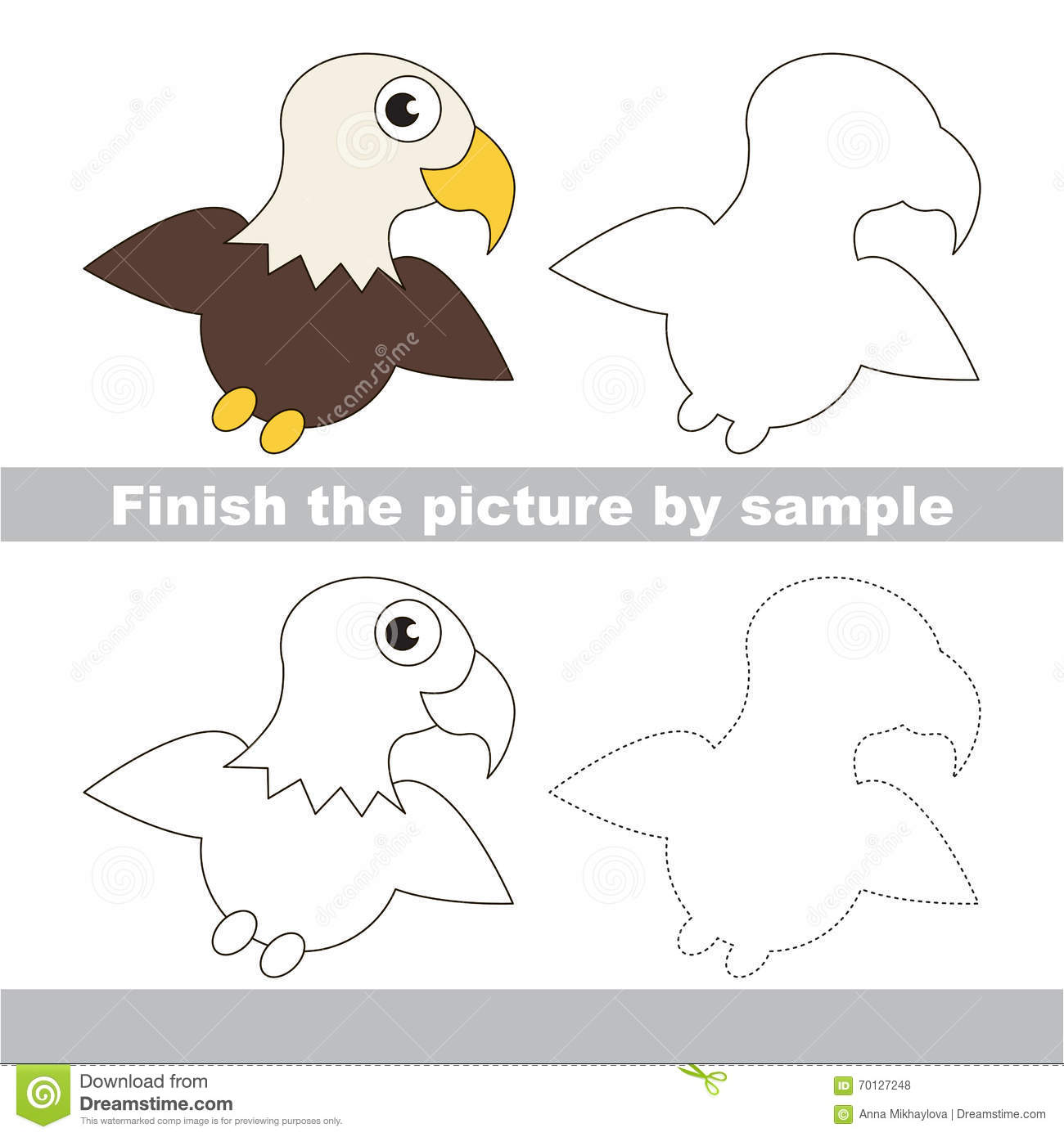 Eagle Drawing Worksheet Stock Vector Illustration Of