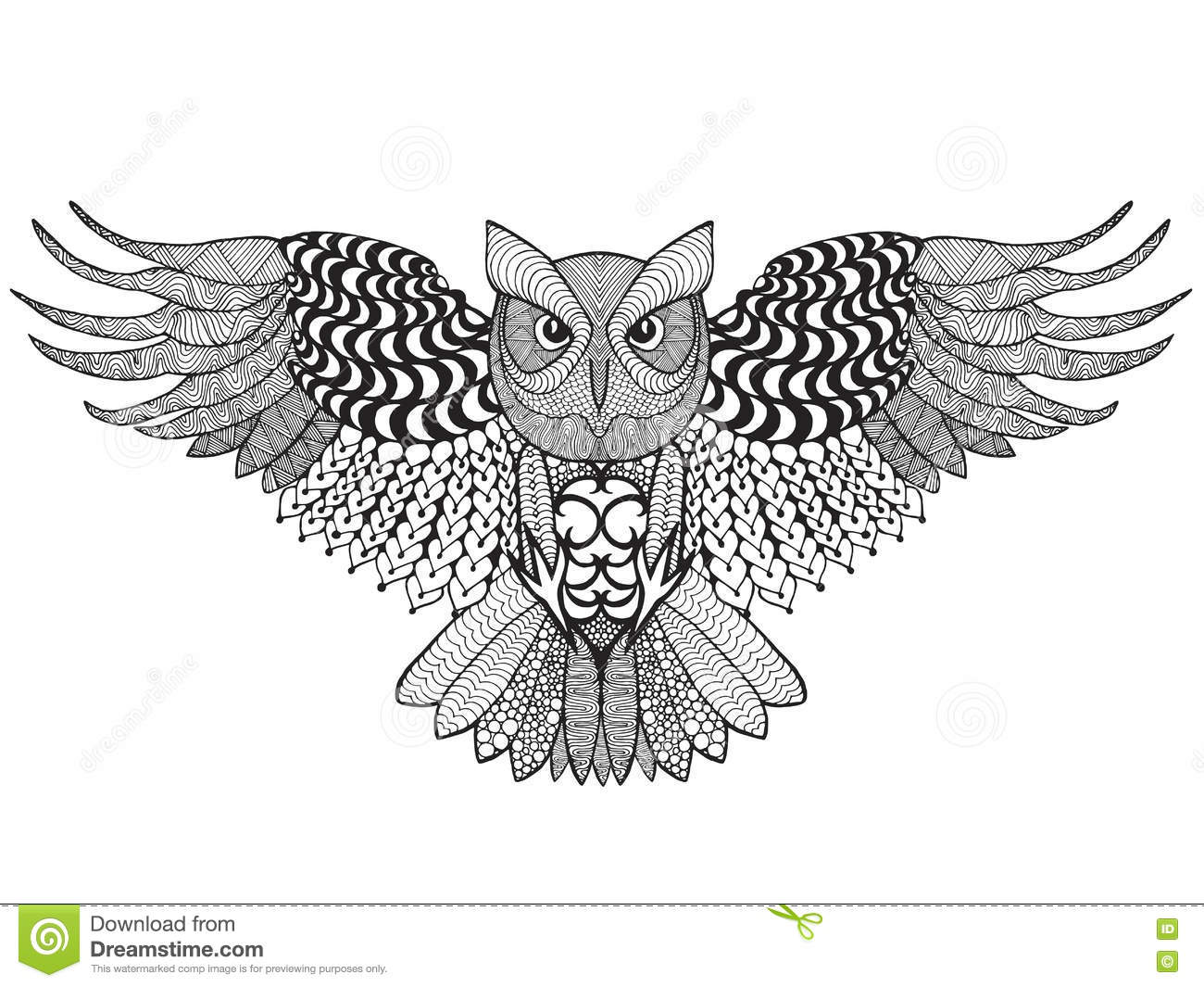 Eagle Owl. Adult Antistress Coloring Page Stock Vector