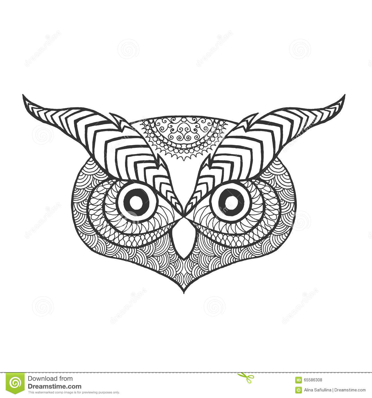 Eagle Owl. Adult Antistress Coloring Page Cartoon Vector