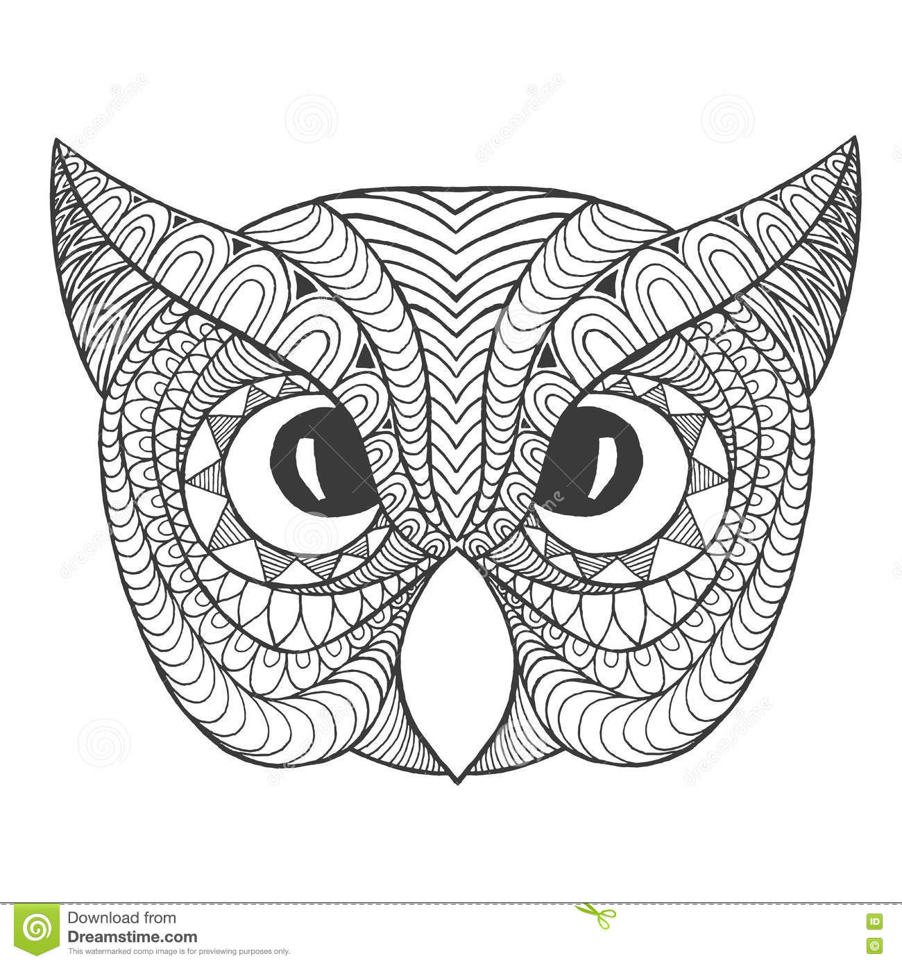 Eagle Owl Head Adult Antistress Coloring Page Stock Vector