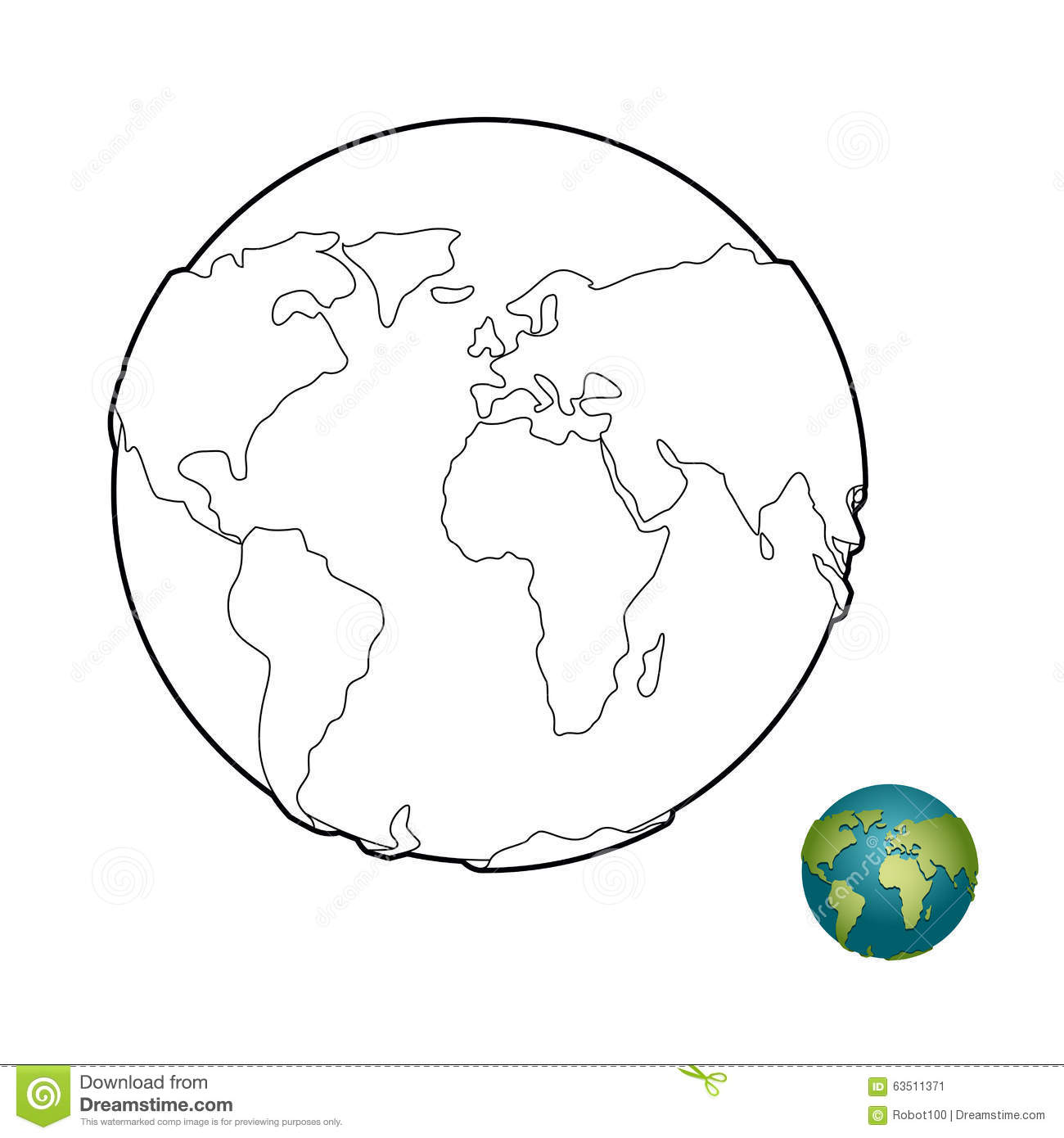 Earth Coloring Book Heavenly Body Planet With Mainlands