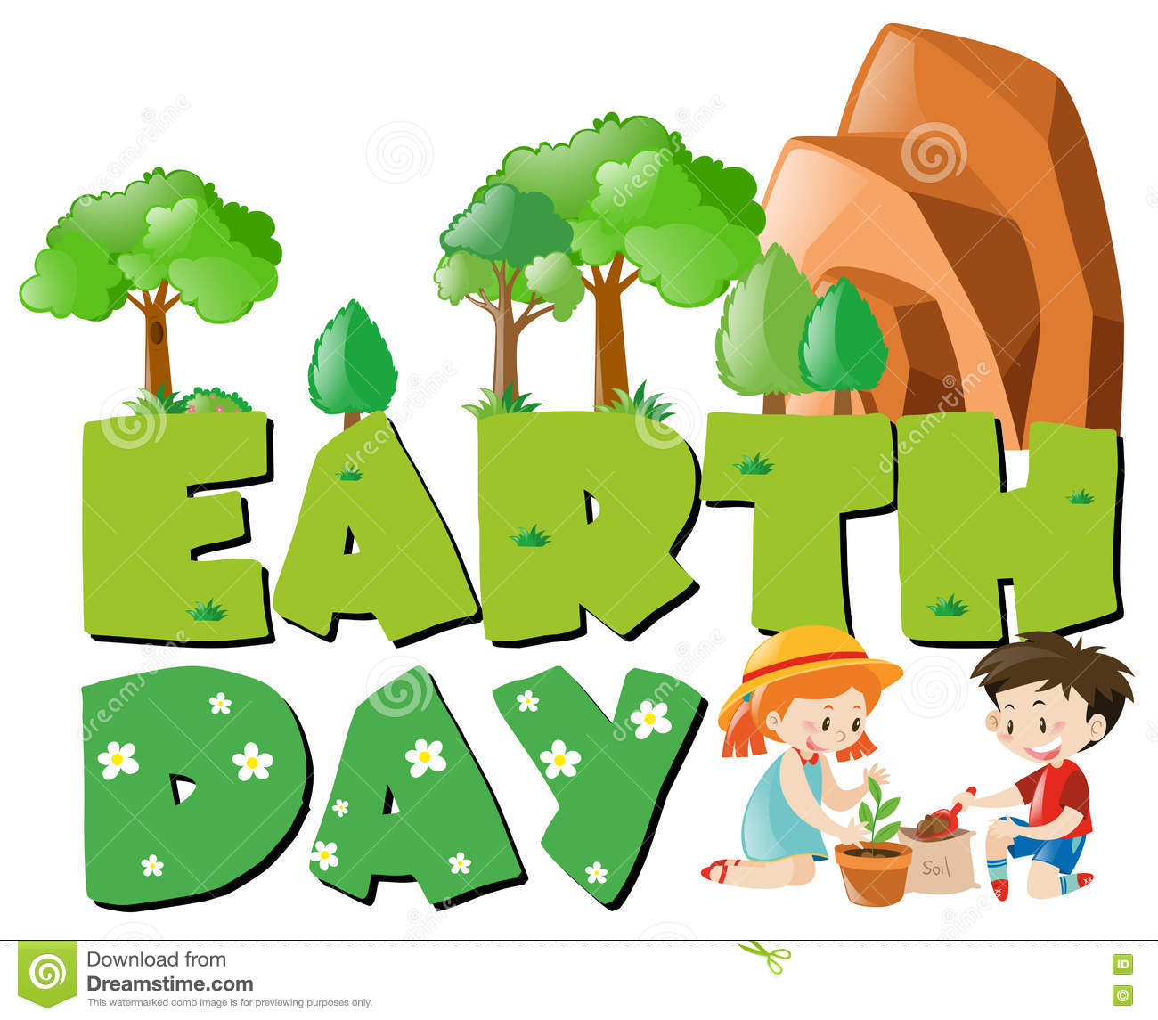 Earth Day Theme With Kids Planting Trees Stock Vector