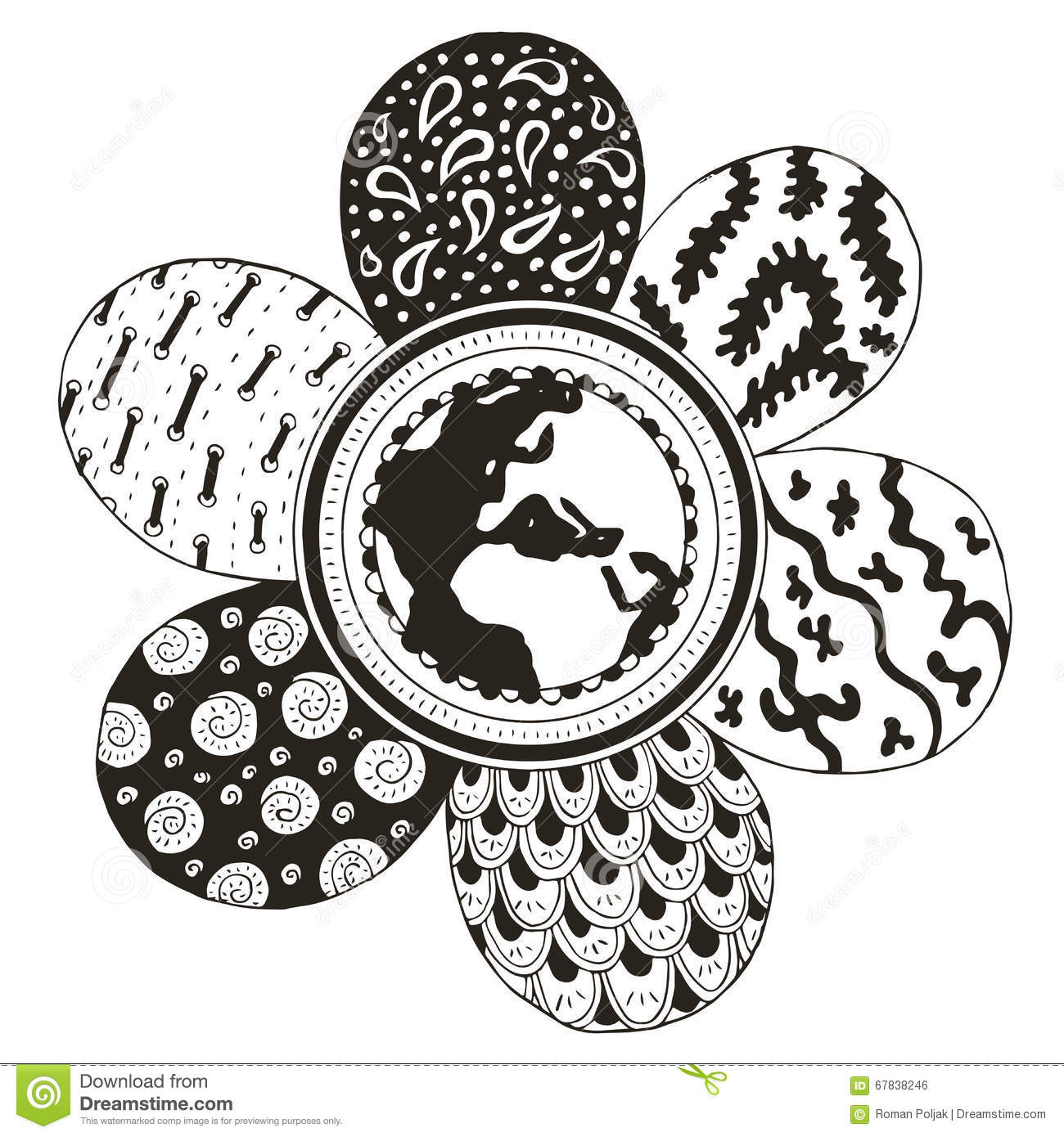 Earth Globe In The Middle Of A Flower Zentangle Stylized