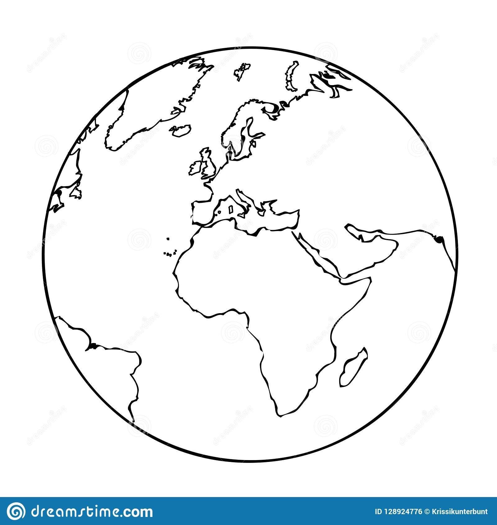 Earth Globe Simple Icon Pictogram Outline Stock Vector