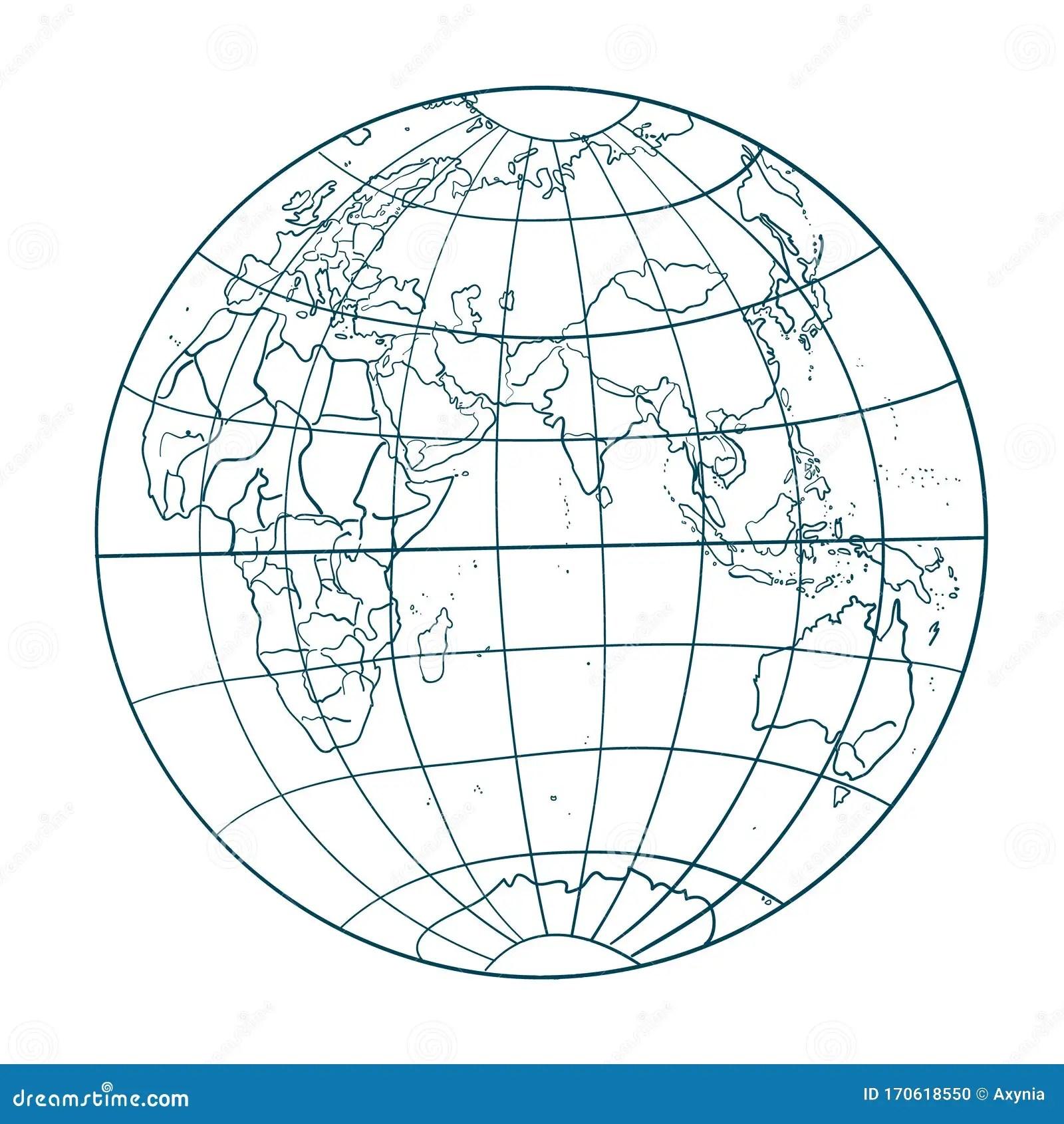 Earth Globe Vector Illustration Contour Line Art World