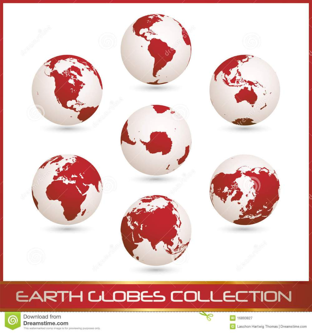 medium resolution of earth globes colection white red