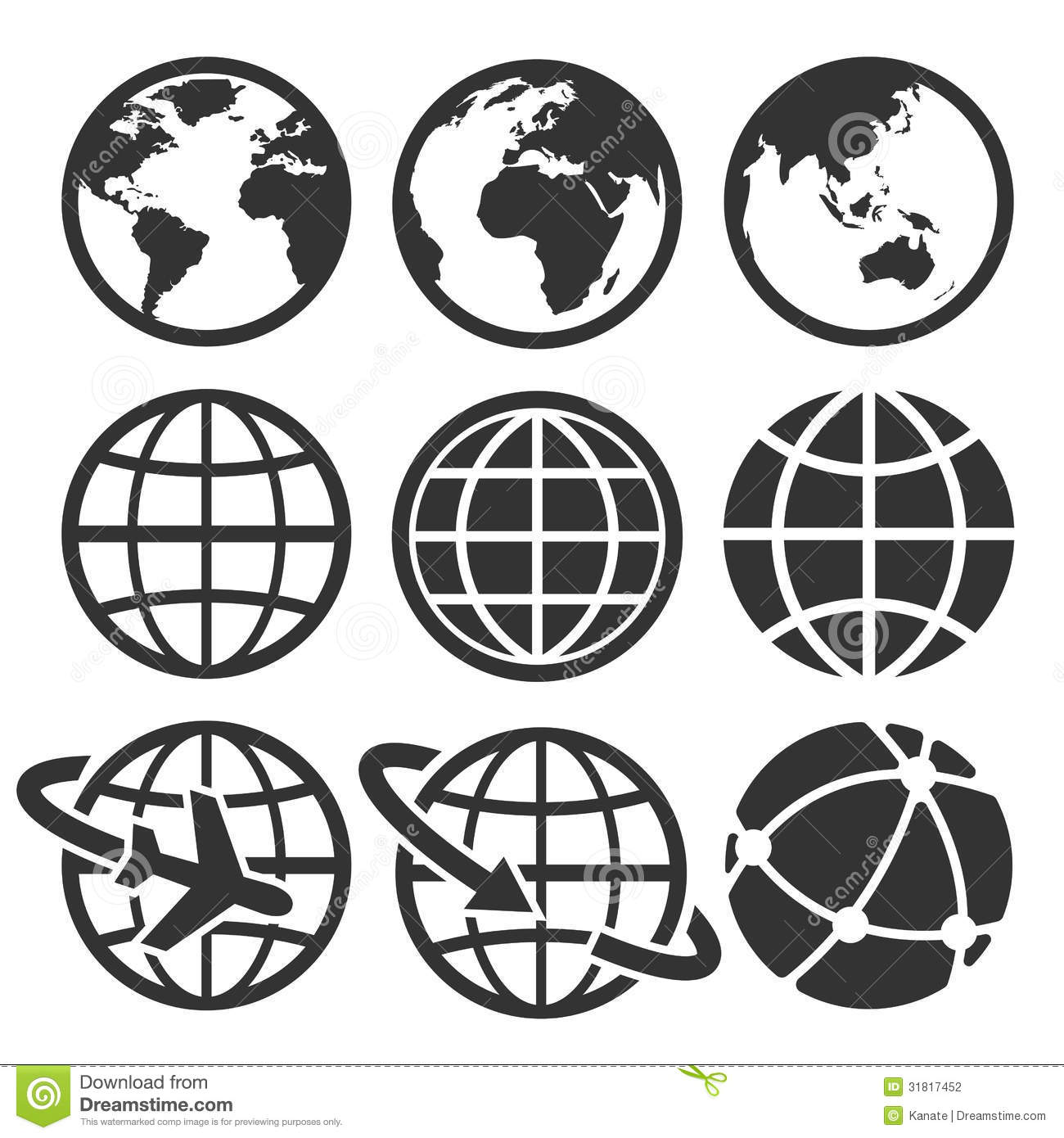Earth Icons Set Stock Photography