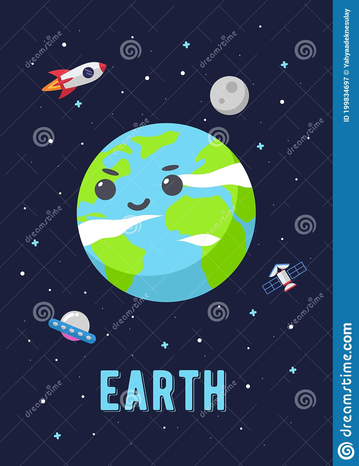 Cute Earth Cartoon : earth, cartoon, Earth, Planet, Design,, Illustration, Vector, Graphic, Planets, Cartoon, Style., Space, Kids., Stock, Christmas,, Graphic:, 199834697