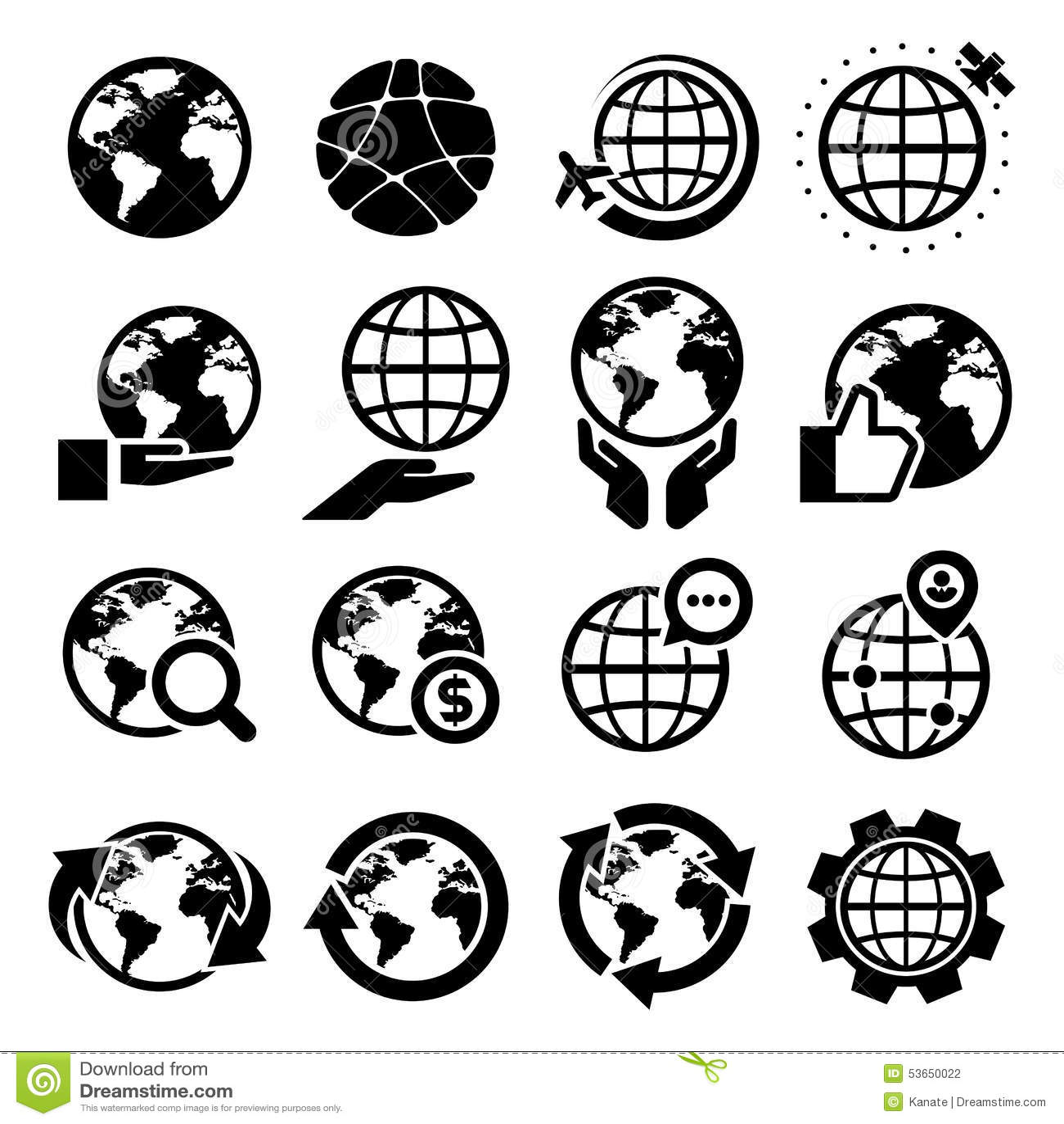 Earth Vector Icons Set Stock Vector