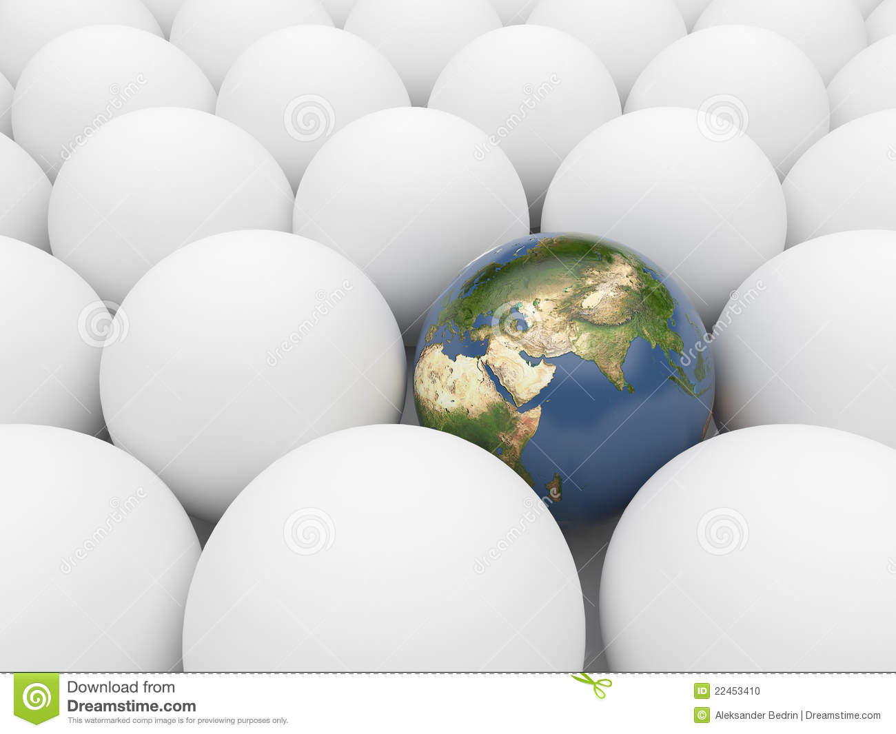 Earth Among White Spheres Unique Planet 3d Stock Photo