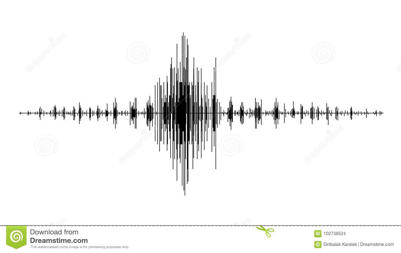 Earthquake Wave Diagram Seismogram Of Different Seismic Activity Record Illustration Stock