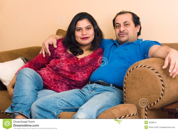 East Indian Couple Stock Of Family Balding - 2638612