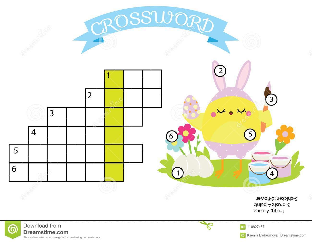Easter Activity Educational Children Game Crossword With