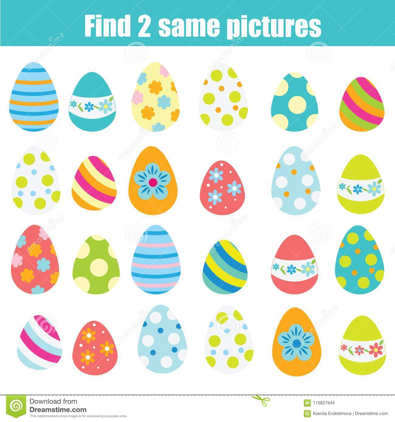Easter Activity Find The Same Pictures Children