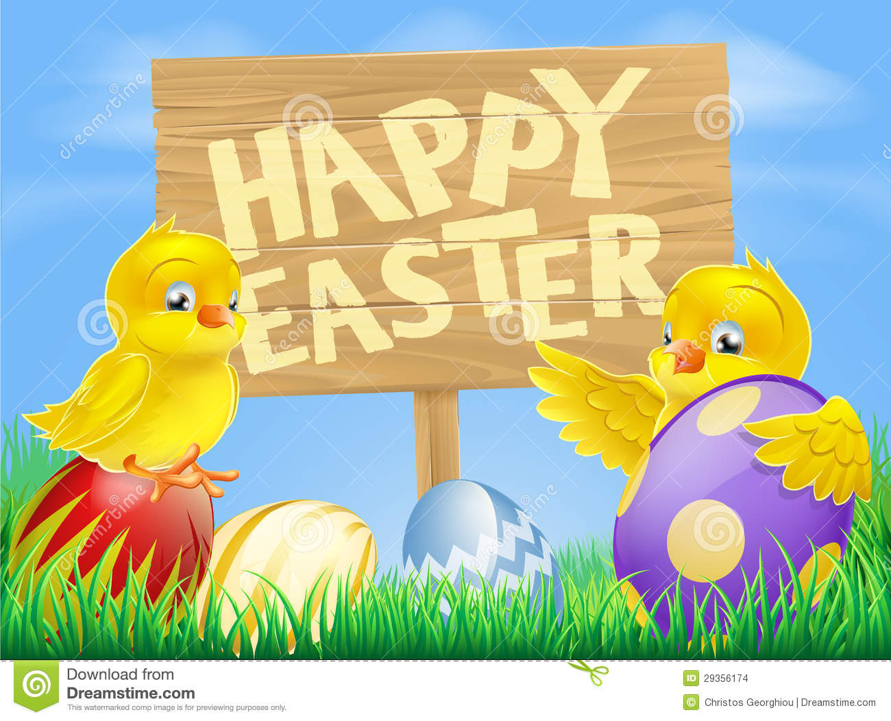 Cute Cartoon Bird Wallpapers Easter Birds And Eggs With Sign Stock Vector