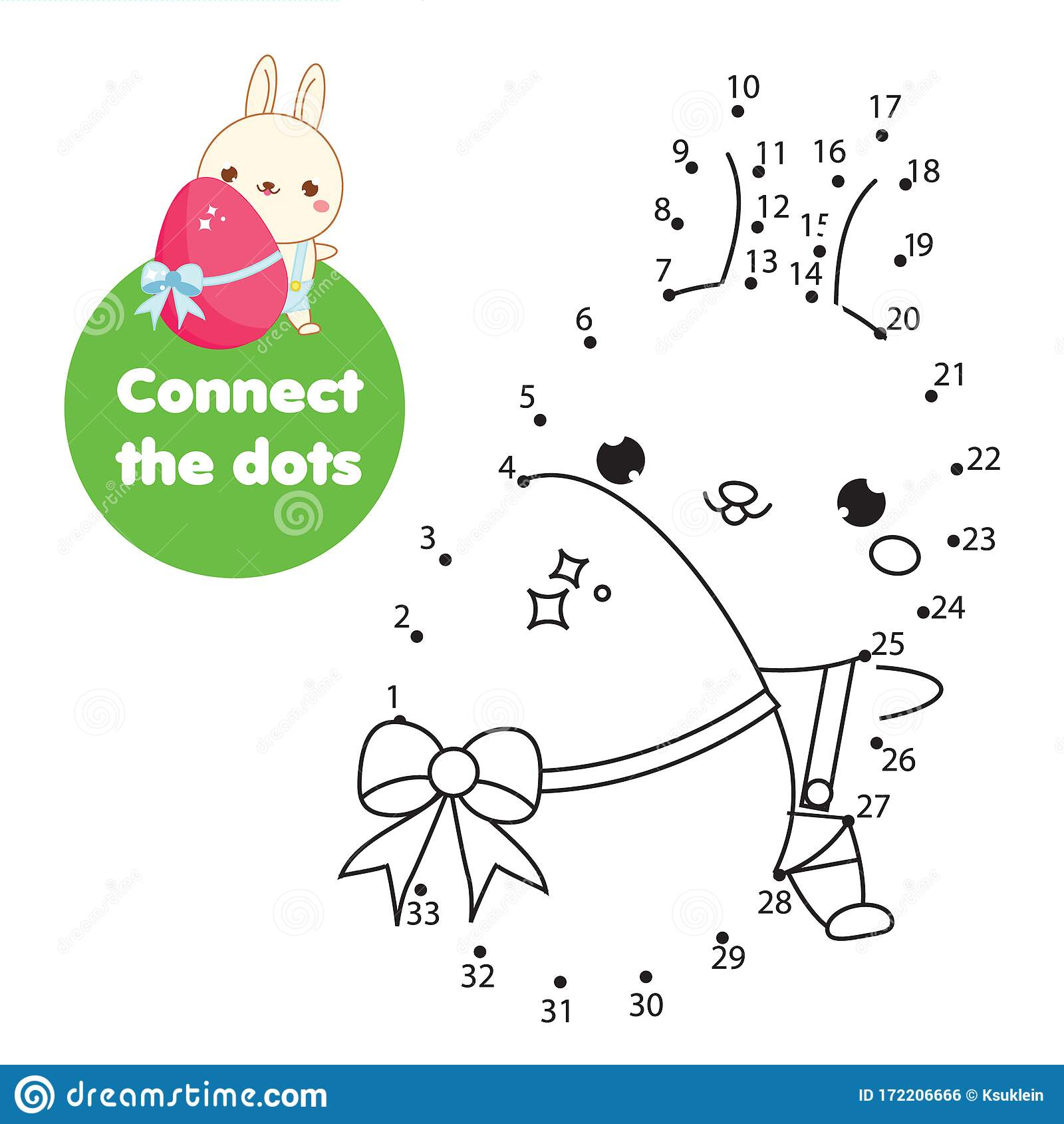 Easter Bunny Connect The Dots By Numbers Educational