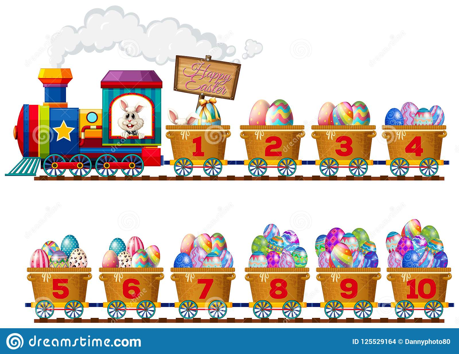 An Easter Bunny On Number Train Stock Vector - Illustration of image. math: 125529164
