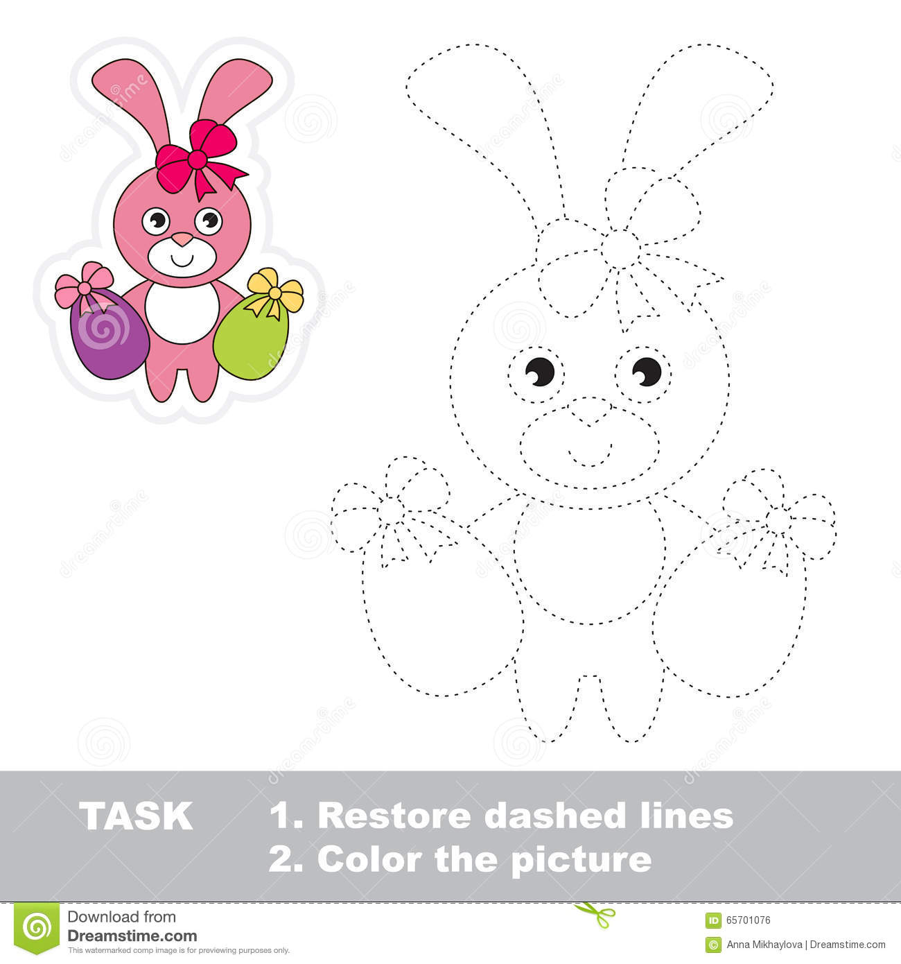 Cartoon Hare Vector Illustration Coloring And Dot To Dot