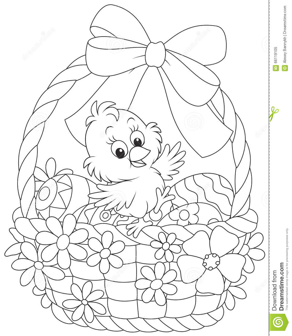 Easter Chick Stock Vector Illustration Of Basket Painted