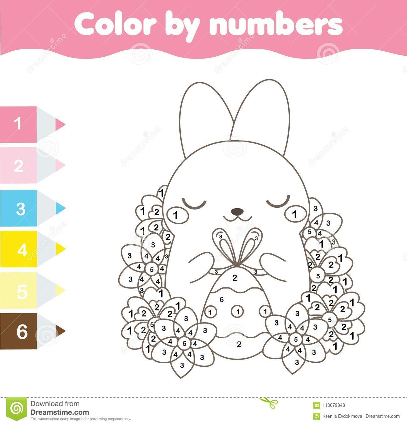 Easter Coloring Page Color By Numbers Printable