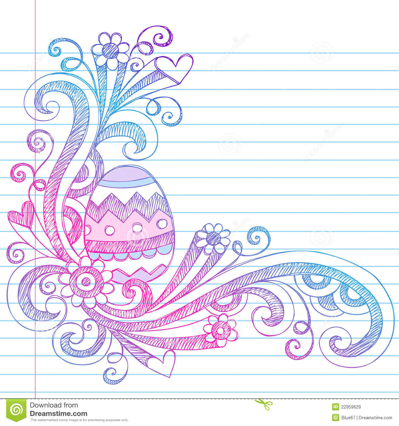 Easter Egg Spring Sketchy Doodles Vector Stock