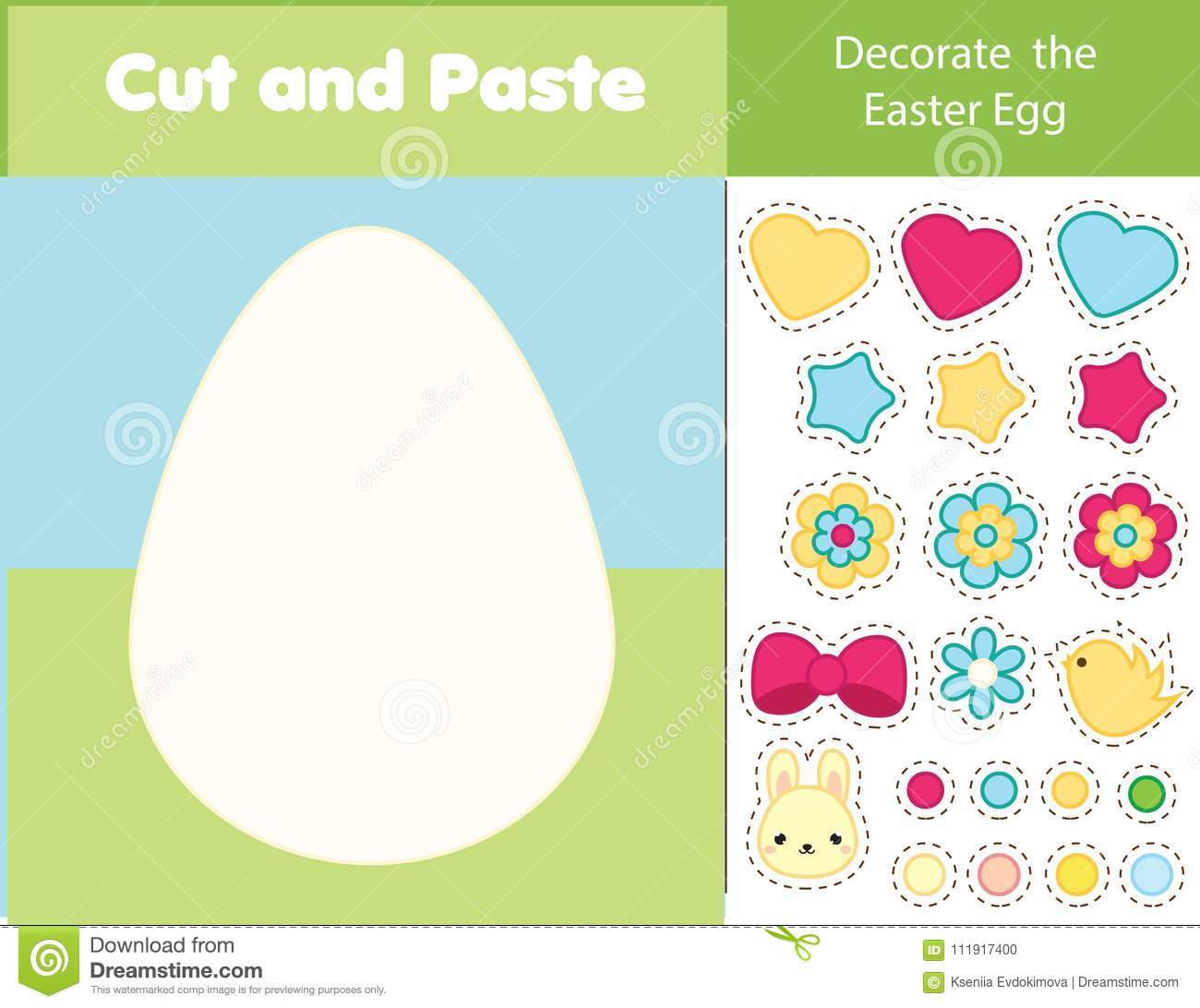 Easter Game Children Educational Game Cut And Paste Type