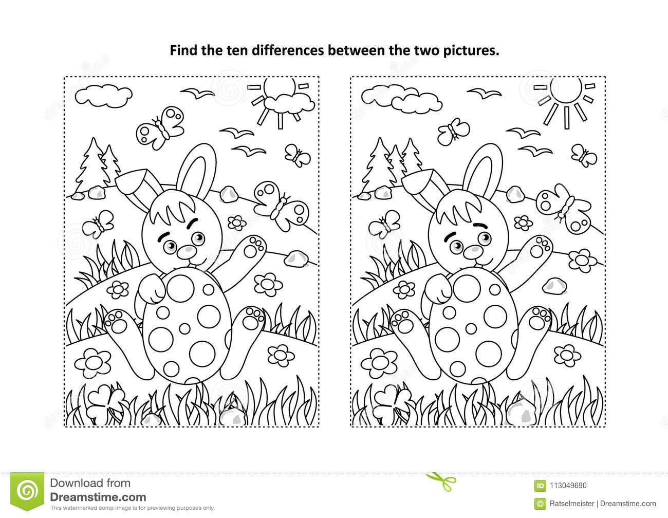 Easter Find The Differences Visual Puzzle And Coloring Page With Bunny And Painted Egg Stock