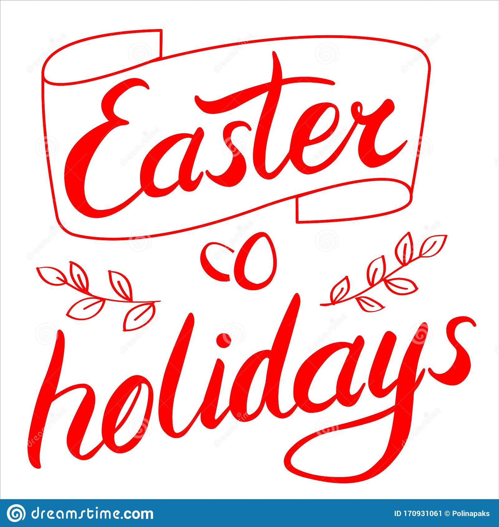 Easter Holidays Title Lettering Bright Red Handwriting