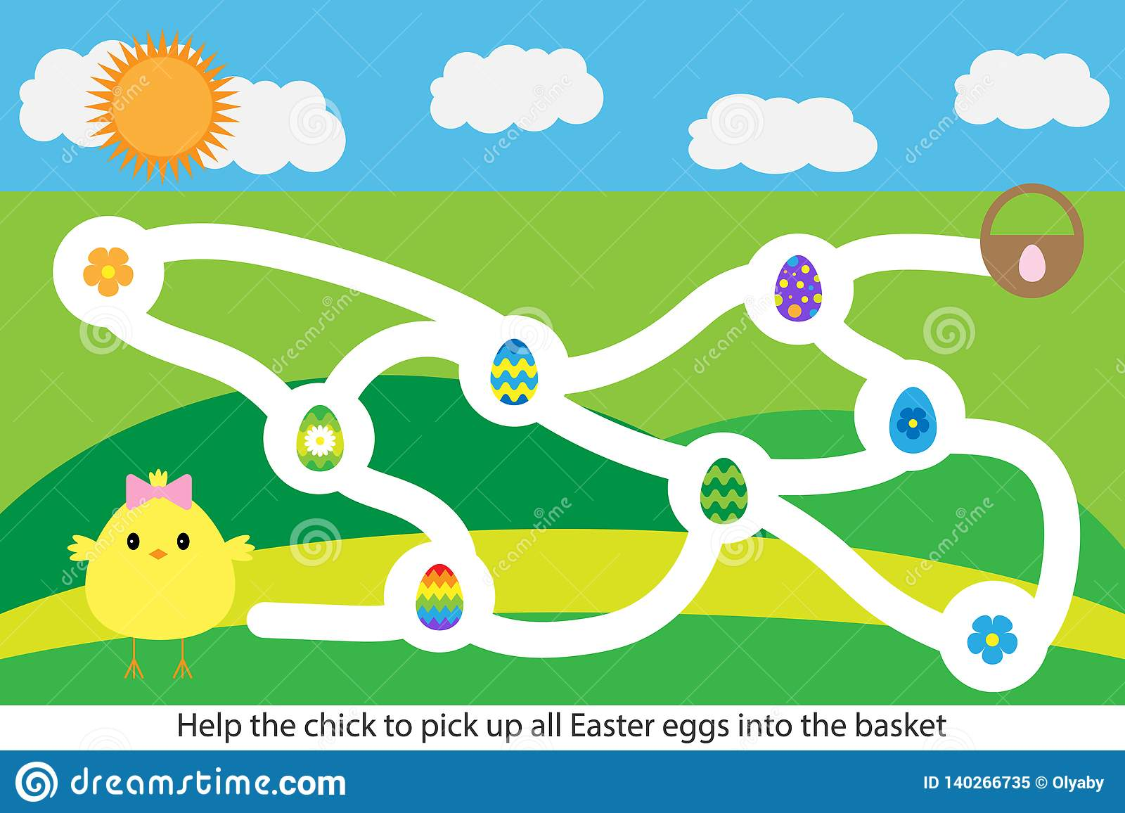 Easter Labyrinth Maze Game Help The Chick To Pick Up All