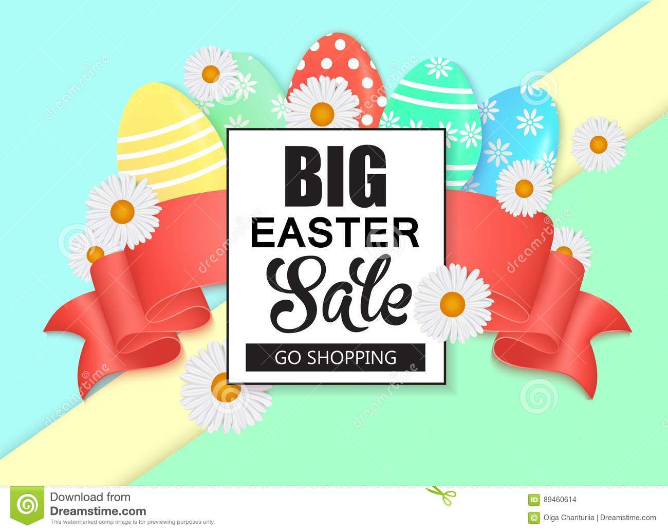 Easter Sale Colorful Banner With Eggs And Ribbon. Vector Background,  Voucher, Brochure Template. Universal Season Spring Illustration With Place  For Text