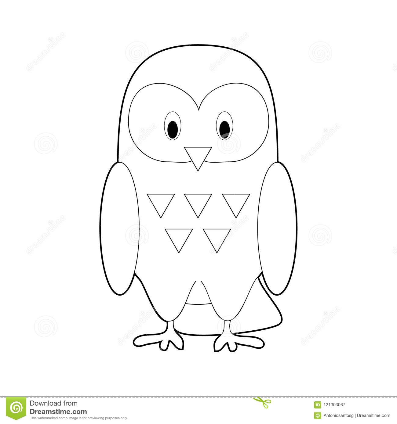 Easy Coloring Animals For Kids: Snowy Owl Stock Vector