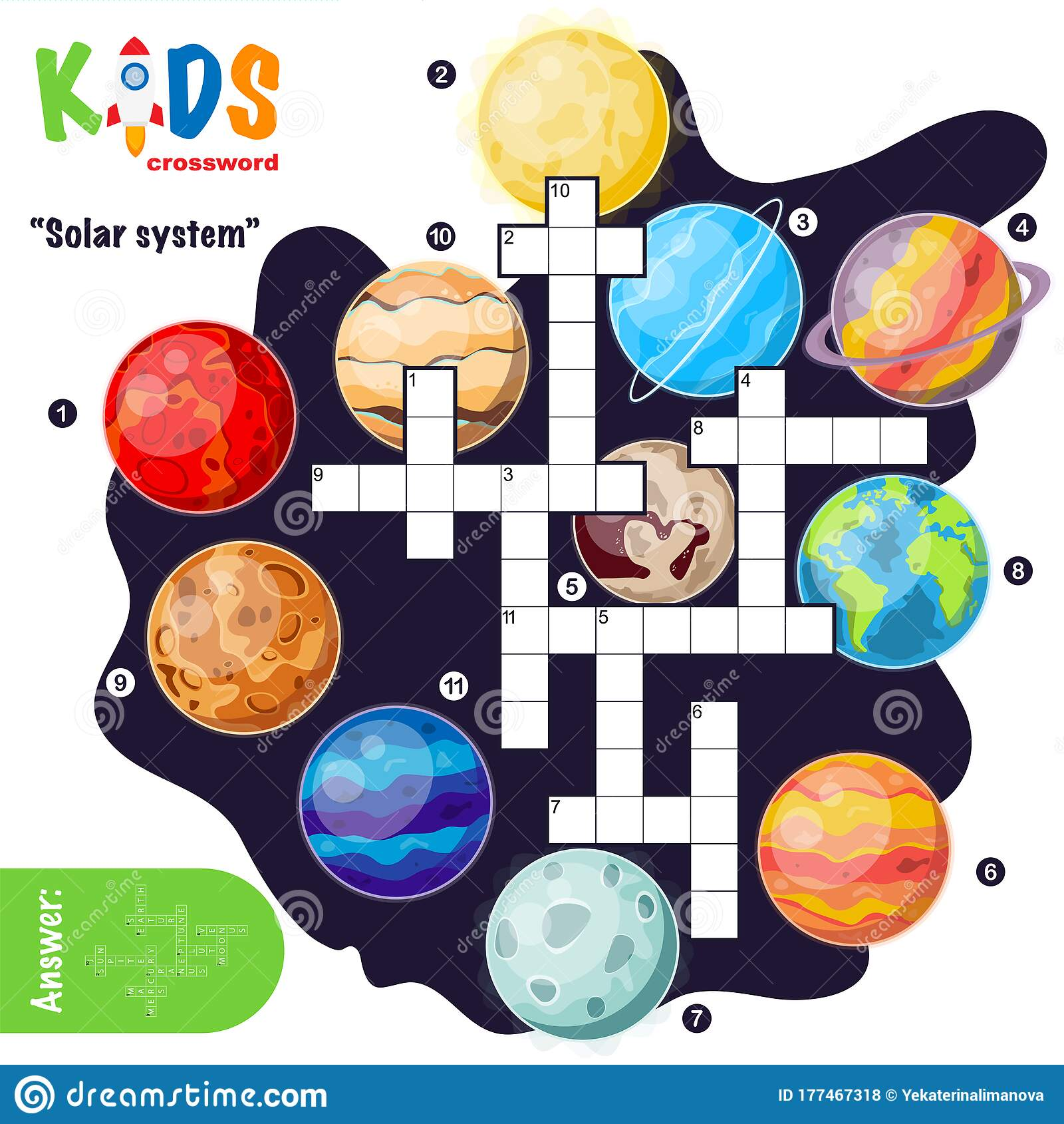 Easy Crossword Puzzle Solar System Stock Vector