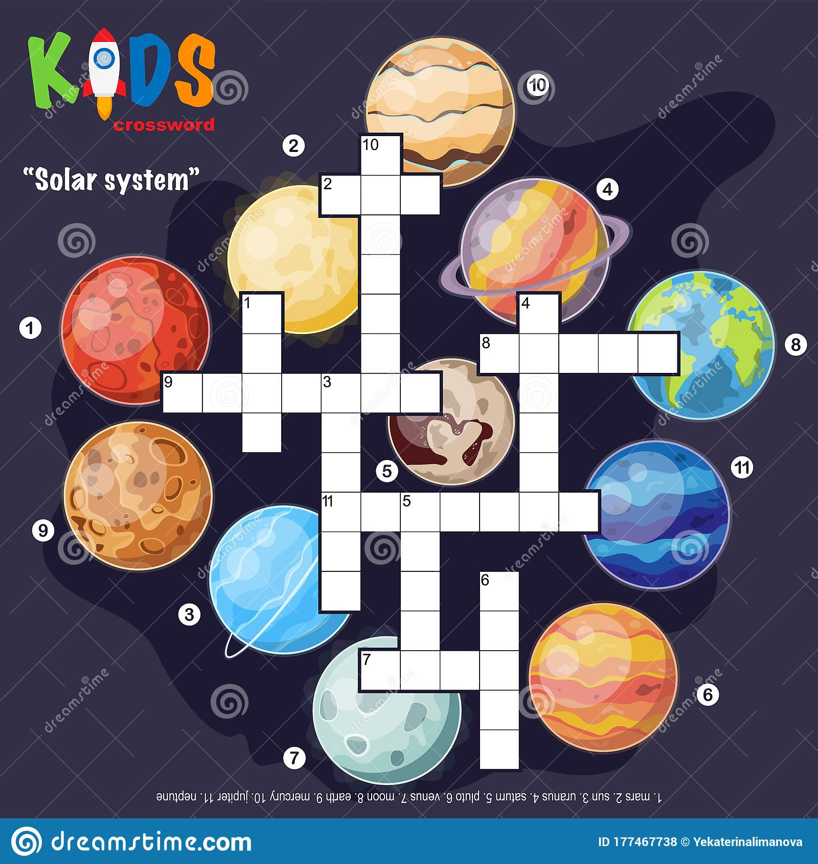 Easy Crossword Puzzle Solar System Stock Vector