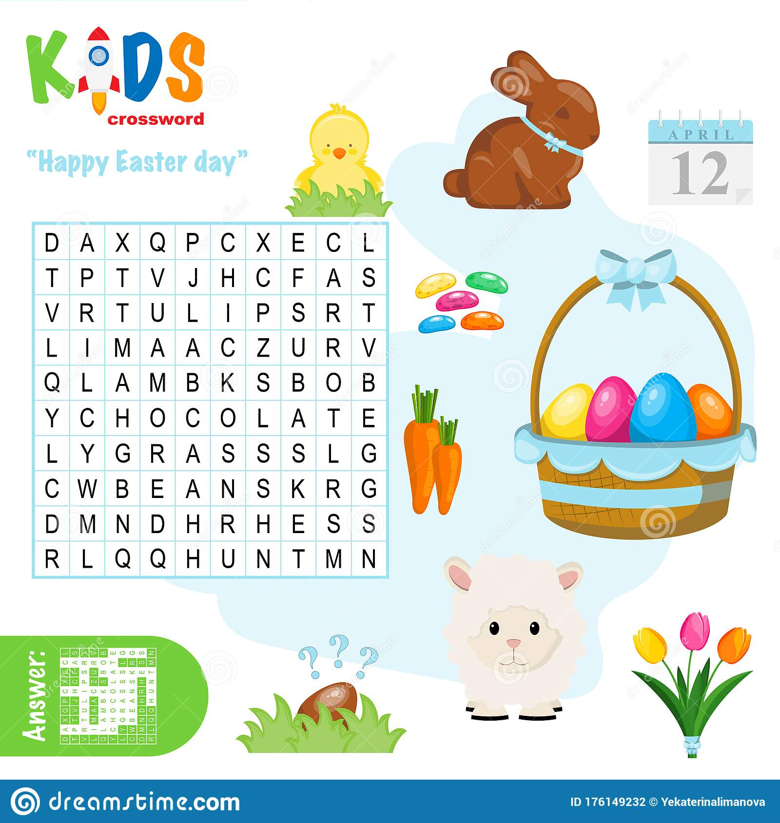 Easy Word Search Crossword Puzzle Happy Easter Day Stock