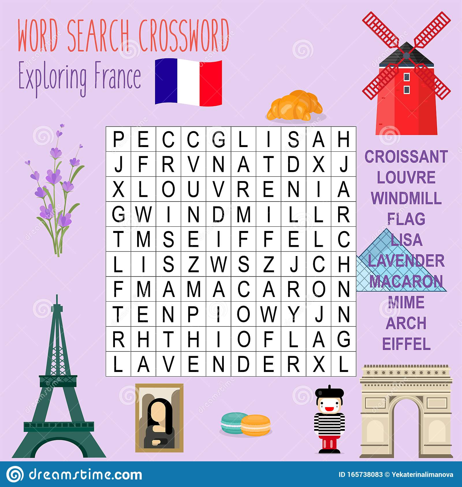 Easy Word Search Crossword Puzzle Journey To France