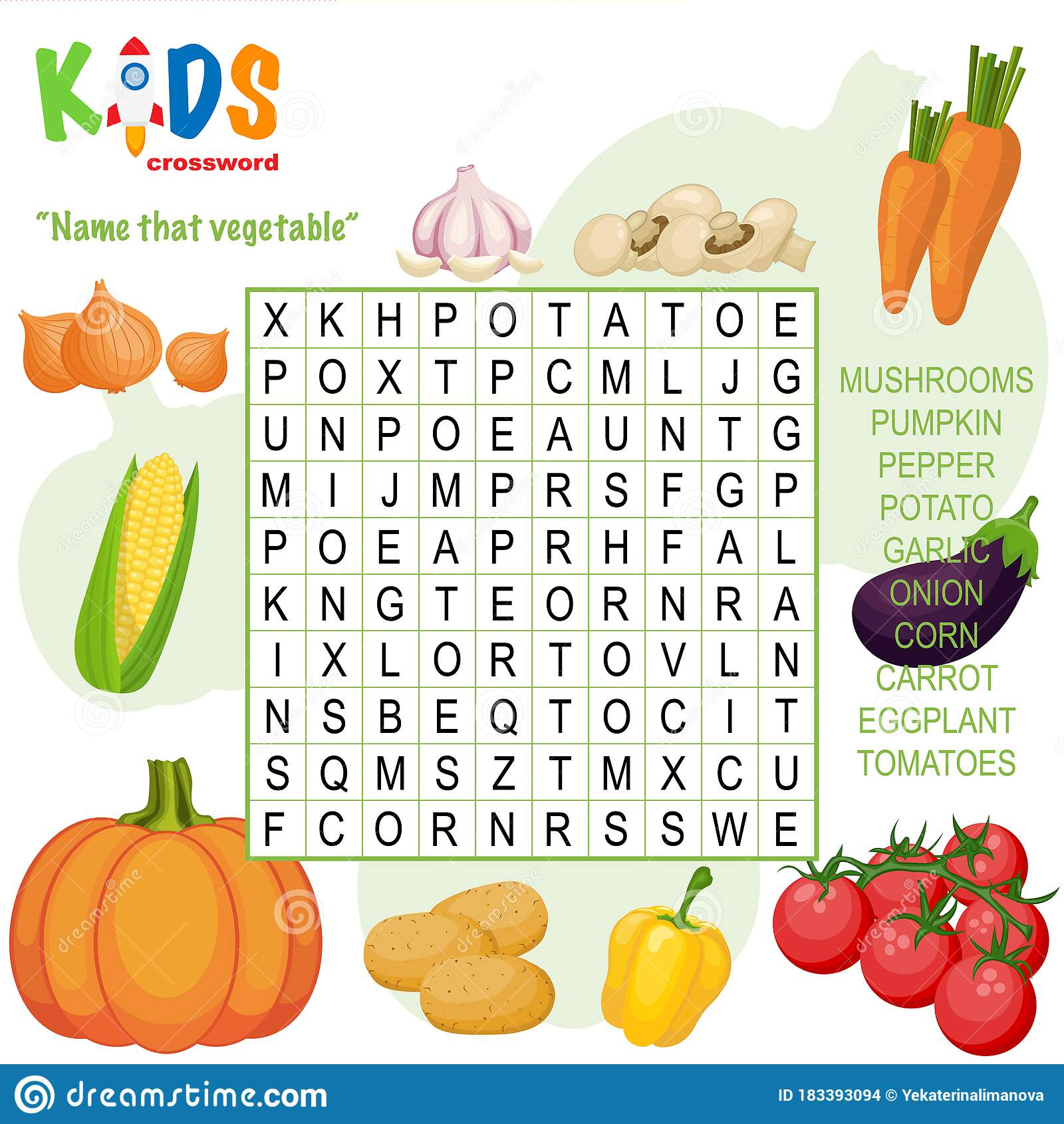 Easy Word Search Crossword Puzzle Name That Vegetable