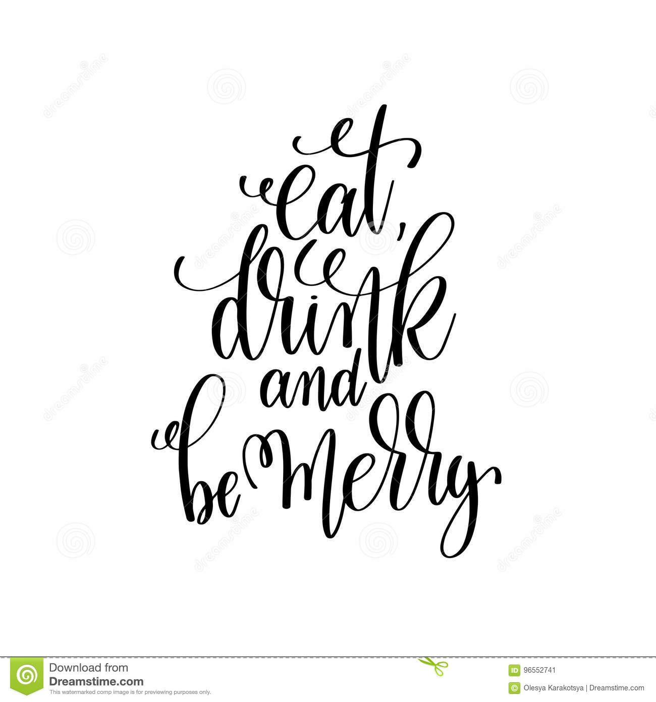 Eat Drink And Be Merry Hand Lettering Inscription To