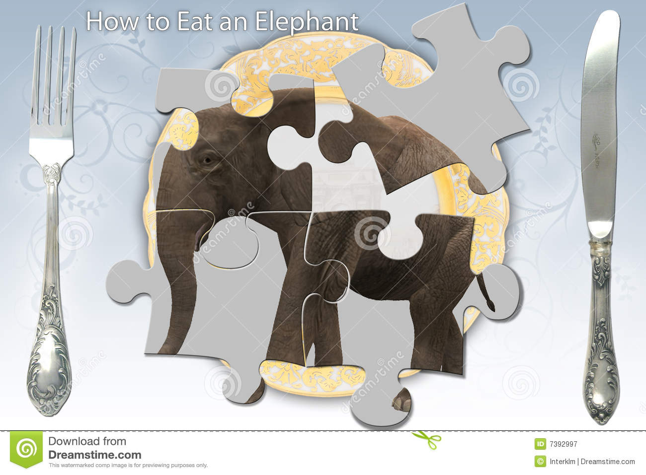 Eating An Elephant Stock Illustration Illustration Of