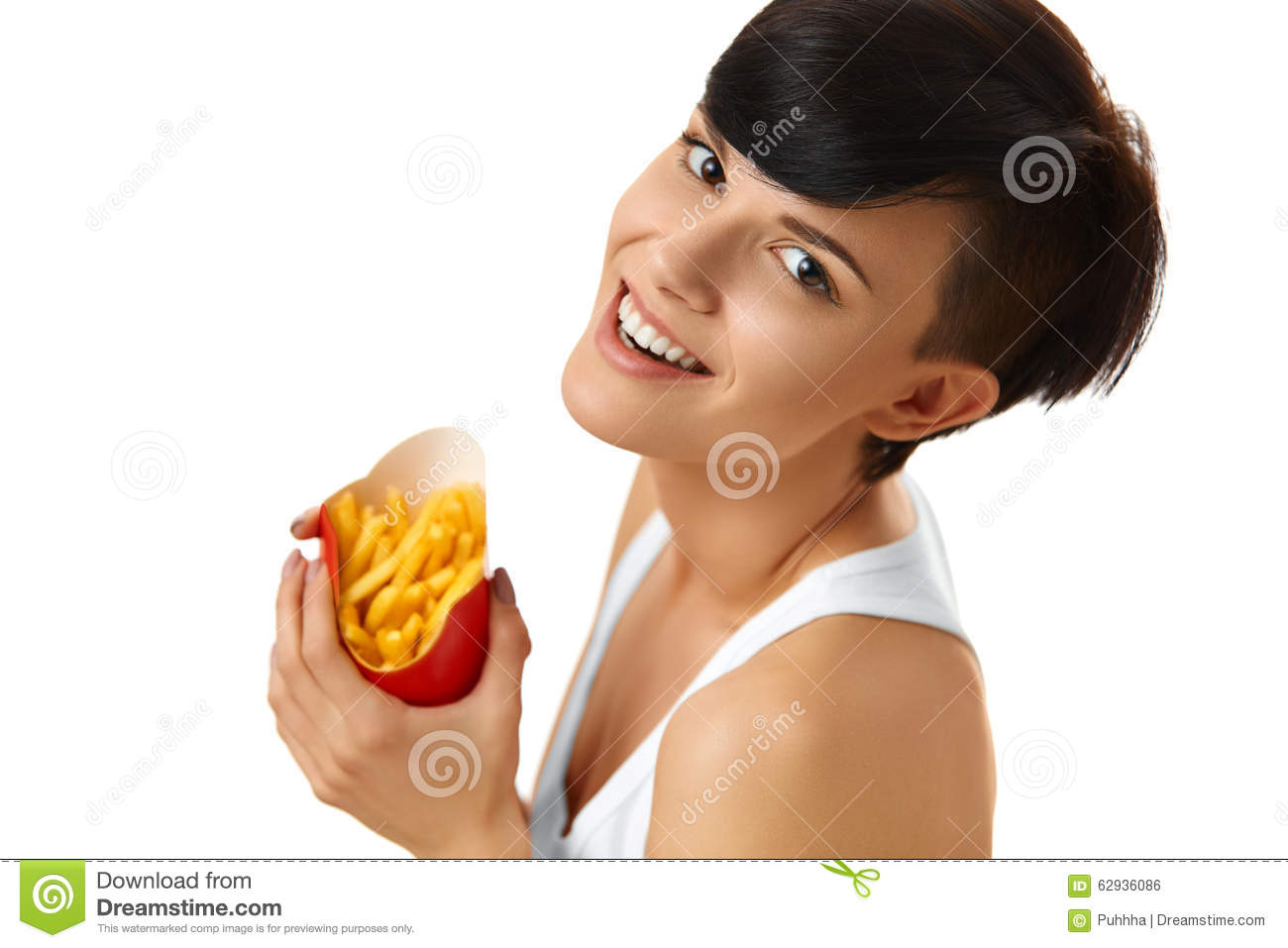 Eating Fast Food Girl Eating French Fries Nutrition Lifestyle Stock Photo Image 62936086