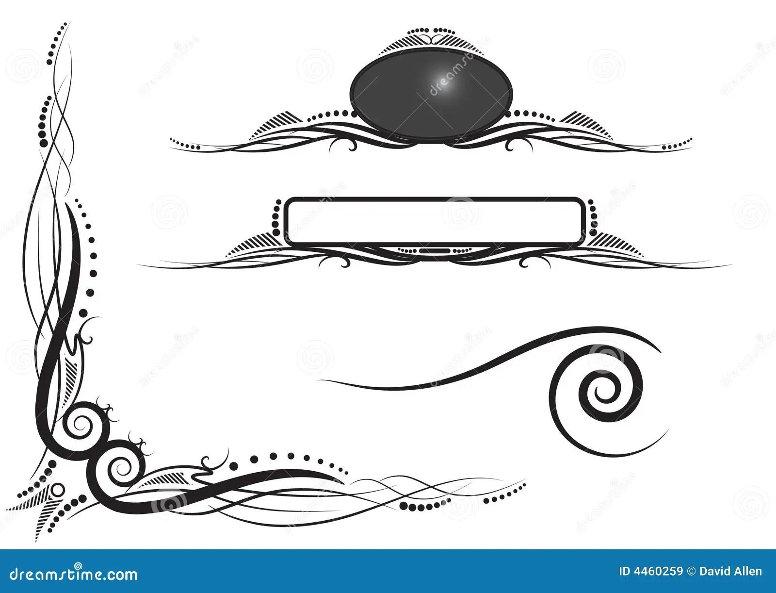 Eckrollen Und Panels Mit Twiddles Stock Abbildung