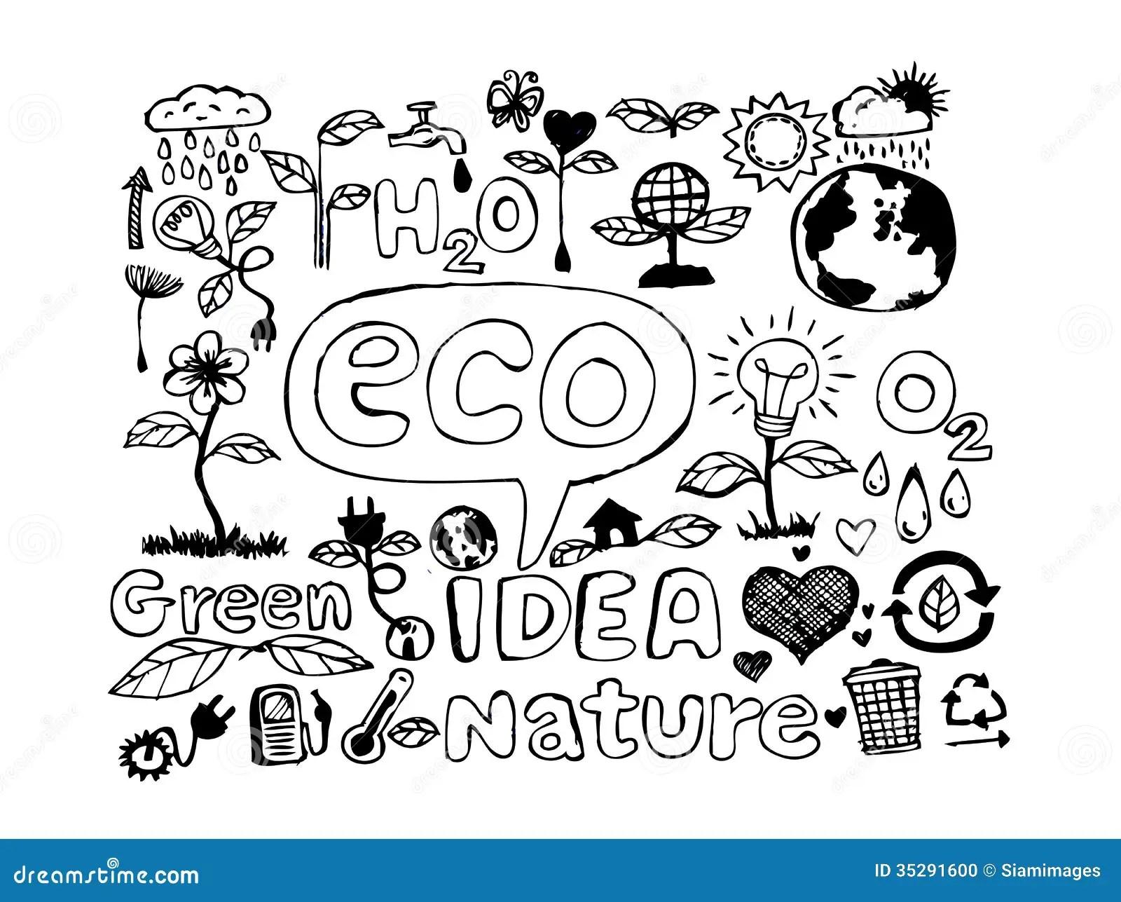 Eco Idea Sketch And Eco Friendly Doodles Stock Photo