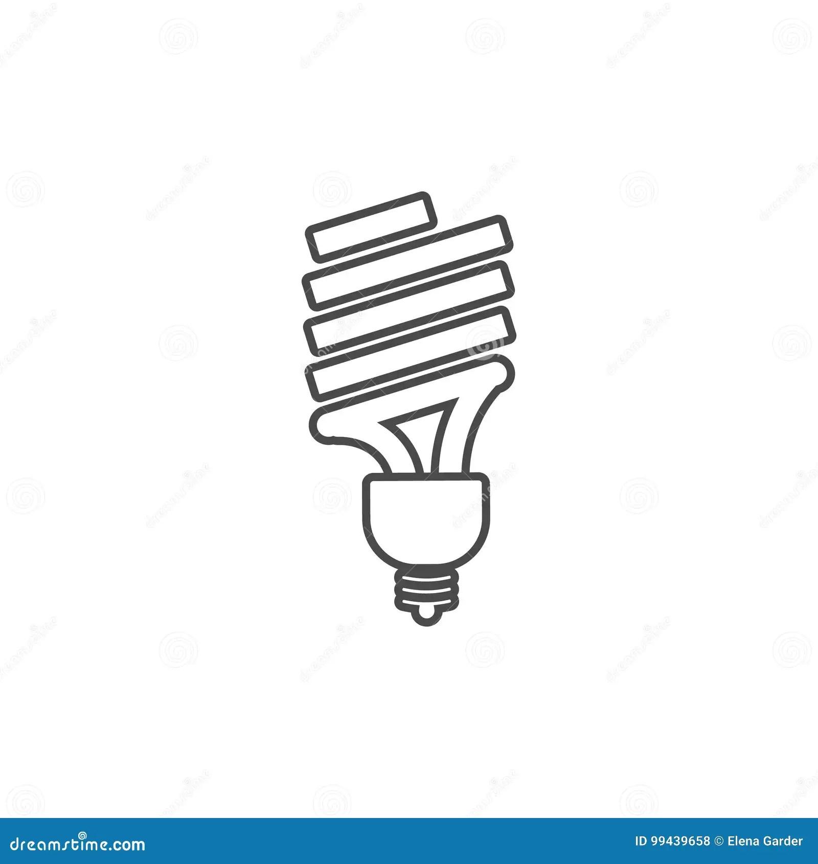 Eco Powersave Lamp Line Icon Saving Electricity Concept